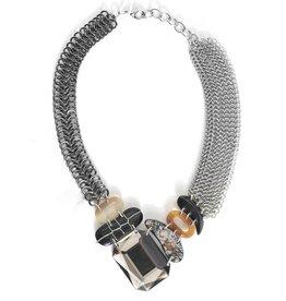 Fahrenheit Fahrenheit Mesh Collar with Stones Necklace