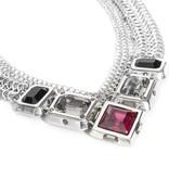 Fahrenheit Fahrenheit Mesh Collar Multi Stones Necklace
