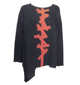 Xiao Xiao Criss Cross Top - Black/Red