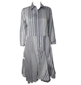 Redwood Court Handerchief Dress - Grey Striped