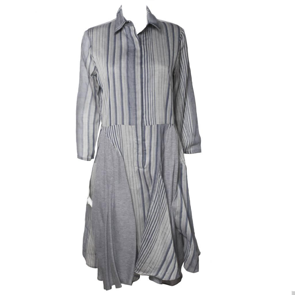 Redwood Court Redwood Court Handerchief Dress - Grey Striped