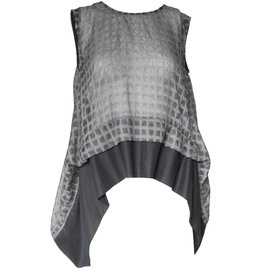 Colour 5 Power Colour 5 Power Tiered Printed Sleeveless Top - Grey