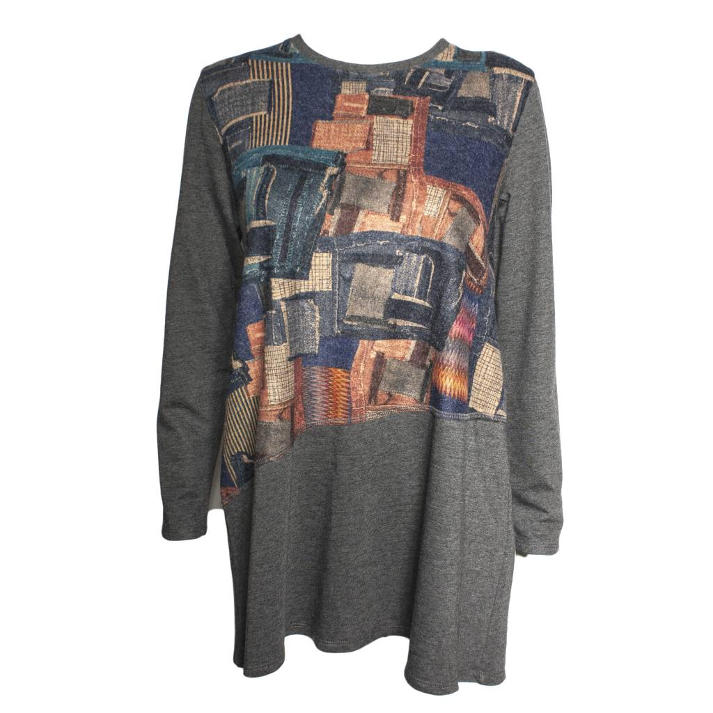 Xiaoyan Xiaoyan Grey Long Sleeve Patchwork Tee