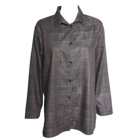 Xiaoyan Xiaoyan Long Sleeve Charcaol/Red Plaid Shirt