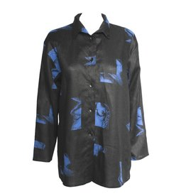 Xiaoyan Xiaoyan Midnight Black/Blue Linen Shirt
