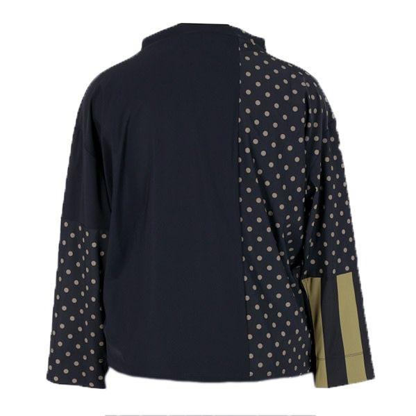 Alembika Alembika Mock Collar Top- Black/Olive