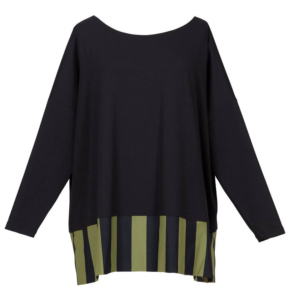 Alembika Alembika Stripe Bottom Top-Black/Olive