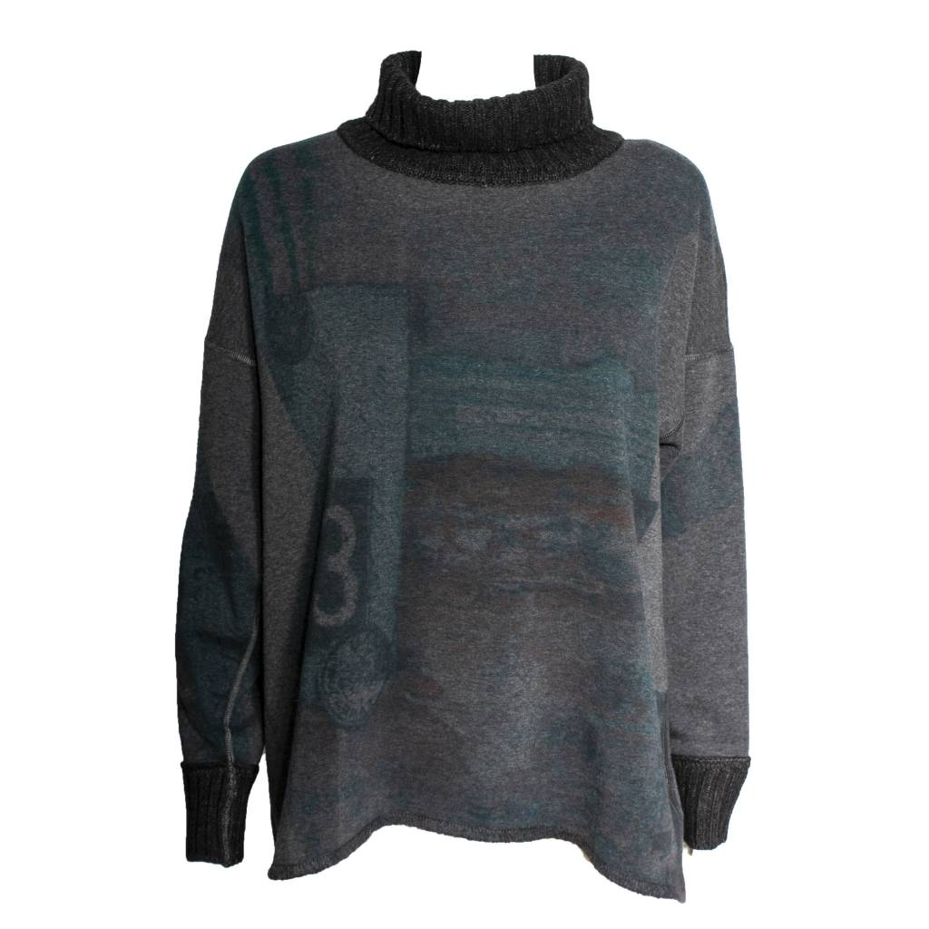Yoshi Yoshi Yoshi Yoshi Long Sleeve Printed Sweater - Grey