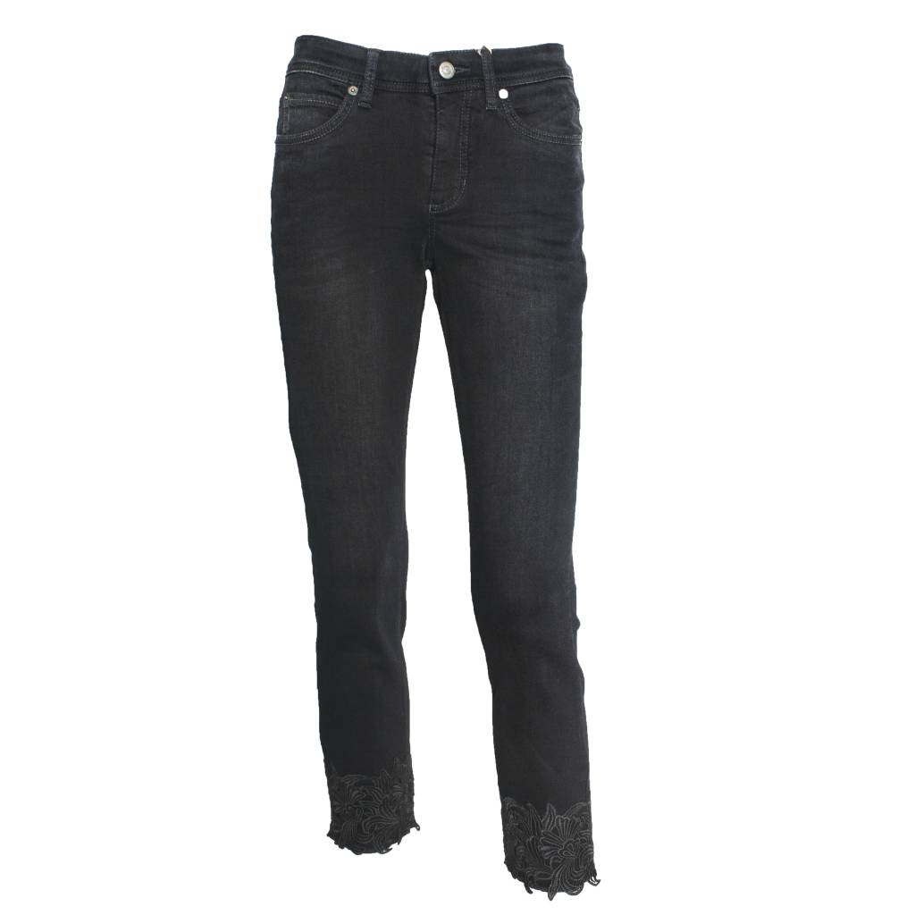 Cambio Cambio Parla Lace Cuff Jeans - Black Denim