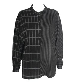 Alembika Alembika Stripe/Check Pocket Top - Blk/Grey