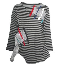 Redwood Court Redwood Court Paint Stroke Stripe Long Sleeve- Black/Grey