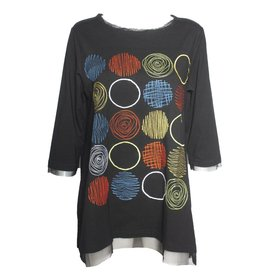 Redwood Court Redwood Court Embroidered Circle Top - Black/Multi