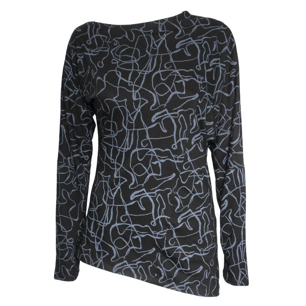 Matthildur Matthildur Long Sleeve Print Tee - Black/Blue