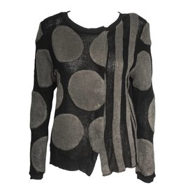 Redwood Court Redwood Court Striped Dot Cardigan - Black/Grey