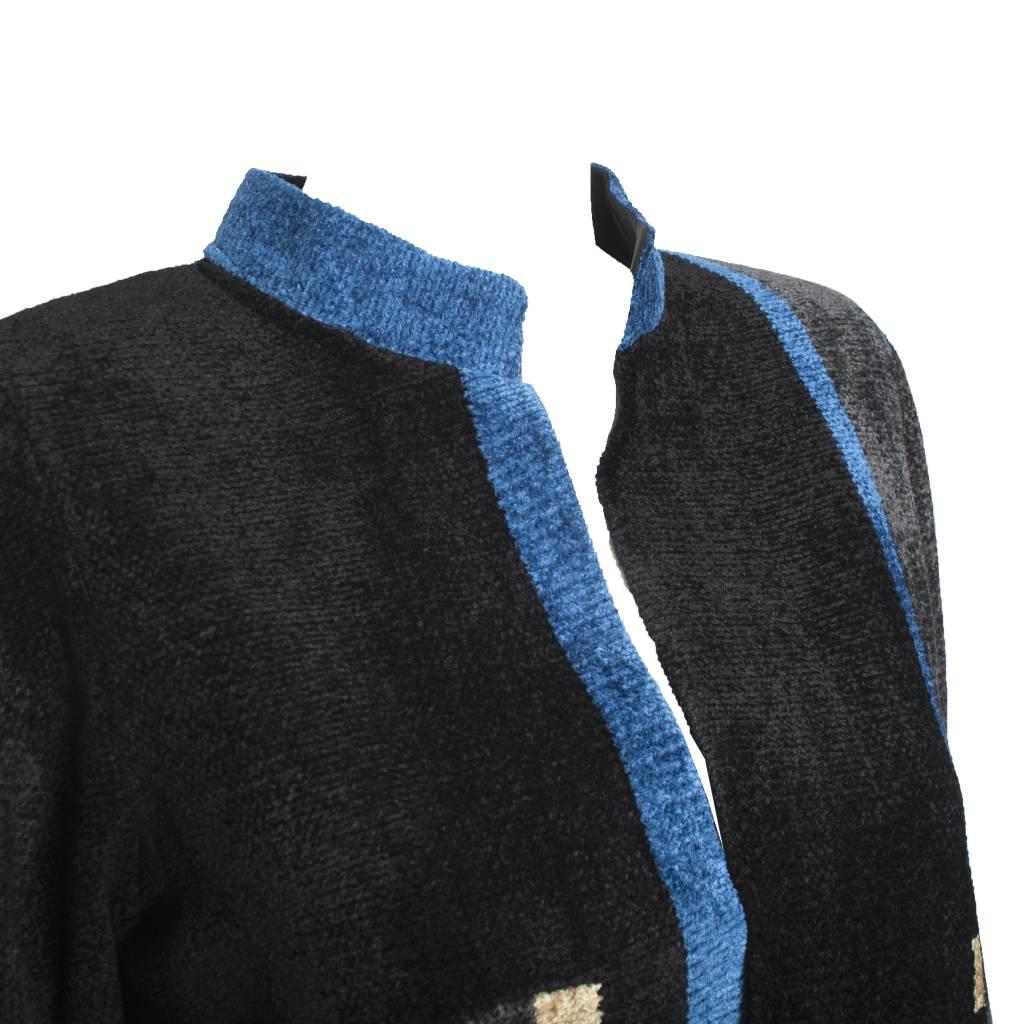 Mina Norton Mina Norton Chenille Jacket - Black/Blue