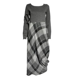 Kedziorek Kedziorek Long Sleeve Plaid Dress - Grey