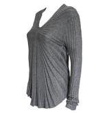 Colour 5 Power Colour 5 Power V-Neck Ribbbed Knit Sweater - Light Grey