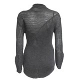 Colour 5 Power Colour 5 Power High Neck Ribbed Knit Sweater - Charcoal