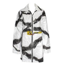 Mau Mau Topper Dazzle Collar Long Coat - White/Grey