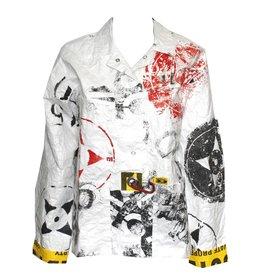 Mau Mau Boxy Stencil Print Jacket - White/Grey