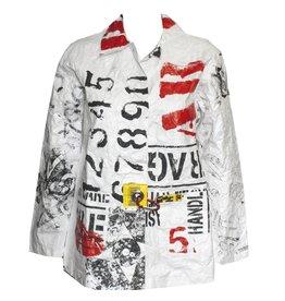 Mau Mau Petite Collared Stencil Print Jacket - White/Grey