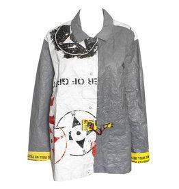 Mau Mau Boxy Half Stencil Print Jacket - White/Grey