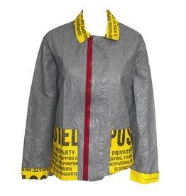 Mau Mau No Tresspassing Coat - Grey/Yellow