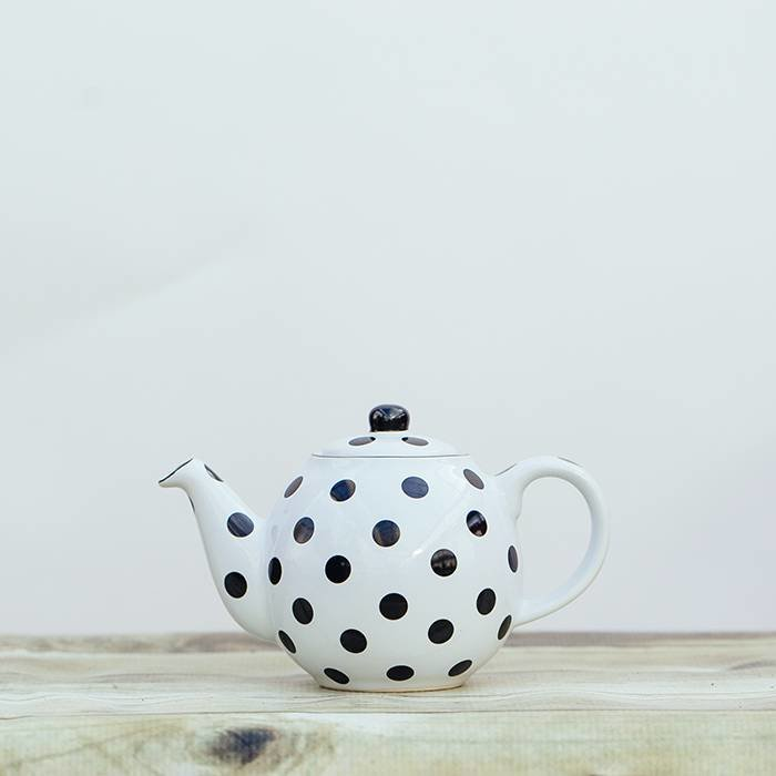Black Polka Dot Geo Teapot