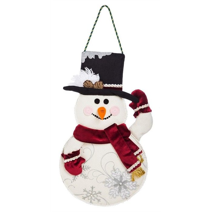 Snowman Burlap Door Decor