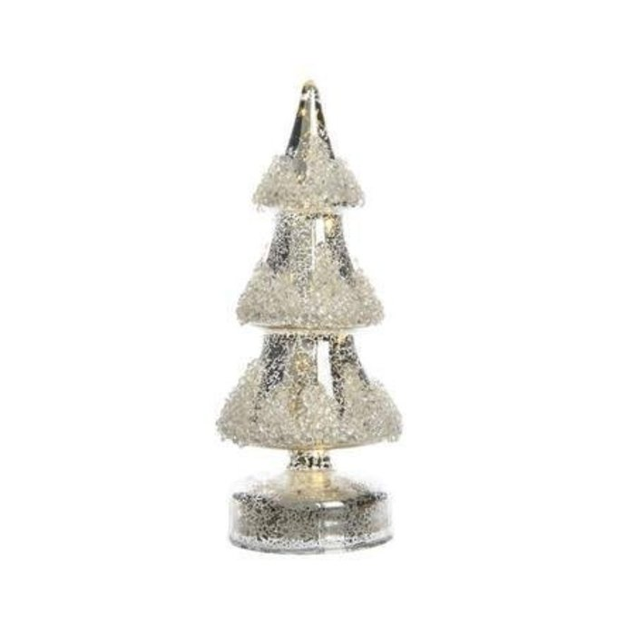 """Antique Silver LED Glass Tree with Beads 10"""""""