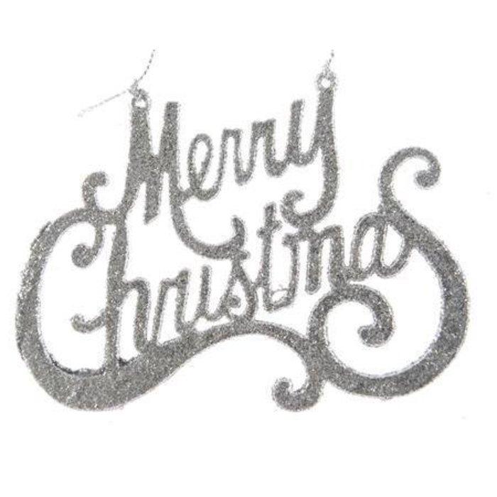 """Silver Merry Christmas Glitter Hanger 5"""""""
