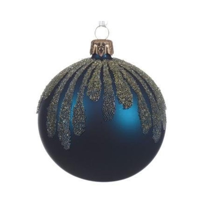 """Petrol Blue Matte Bauble with Glitter 3"""""""