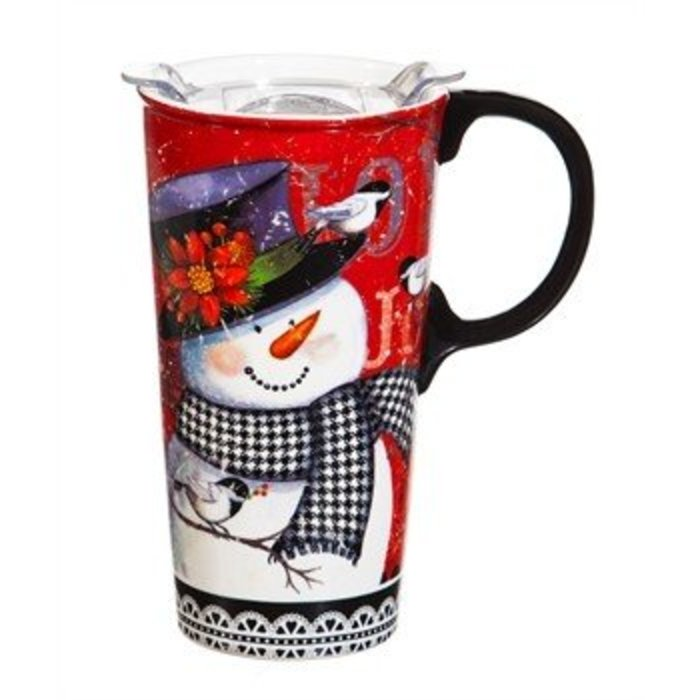 Snowman Ceramic Travel Cup