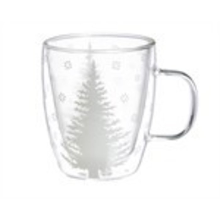 Glass Cafe Cup with White Tree