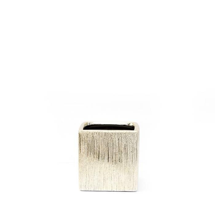 Gold Ceramic Cube Vase