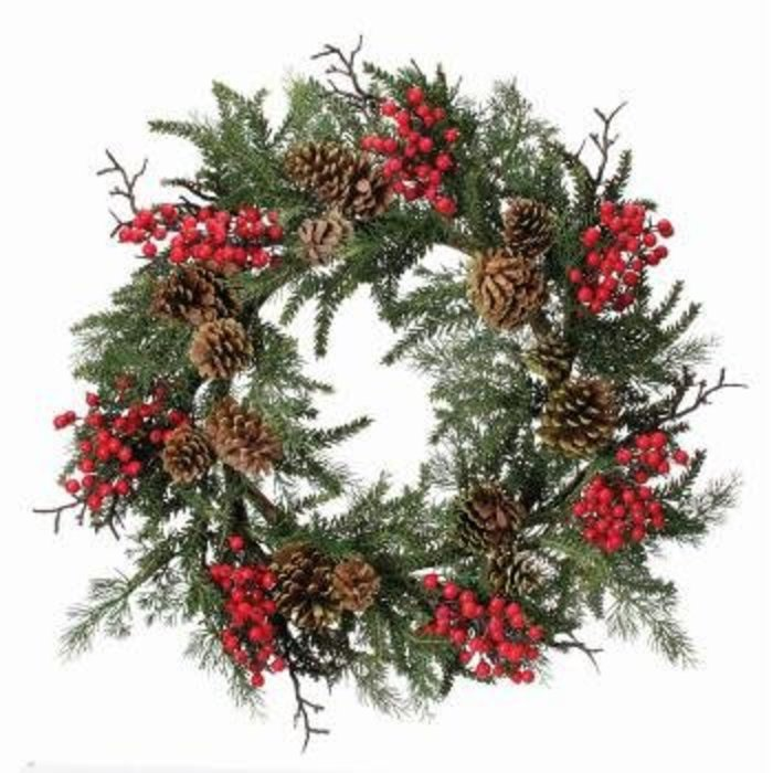 Waterproof Berry, Cedar, and Hemlock Wreath 24""