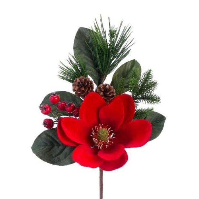 """Velvet Magnolia Pine Pick 17"""""""