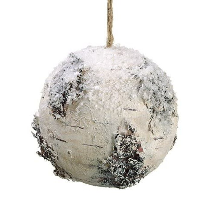 Faux Birch Ball Ornament 4.75""