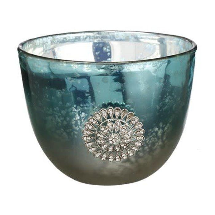 Jeweled Medallion Glass Vase