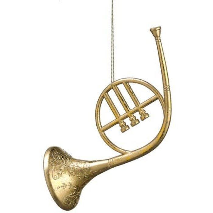 """Glitter French Horn Ornament 8"""""""