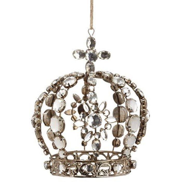 "Rhinestone Crown Ornament 6"""