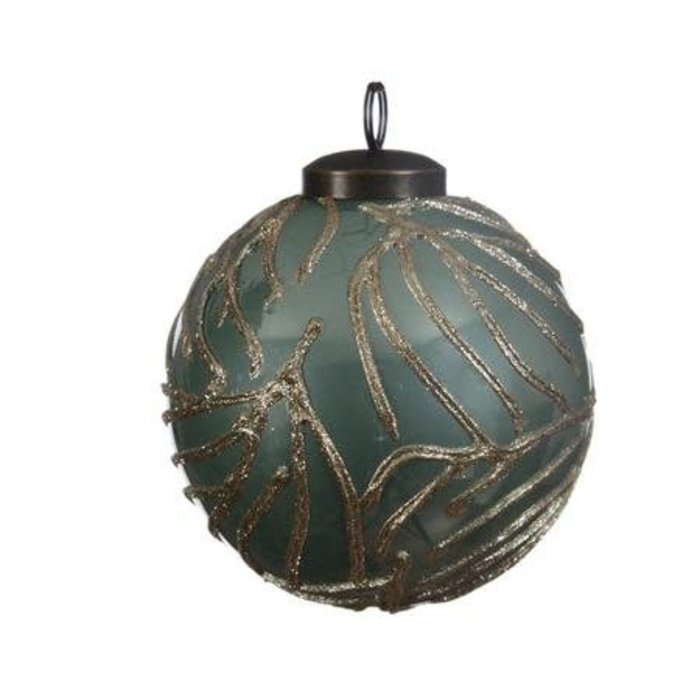 Eucalyptus Glass Bauble with Lacquer Stripe 3""