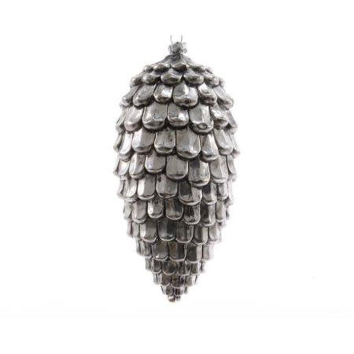 "Antique Silver Plastic Pine Cone 6"""