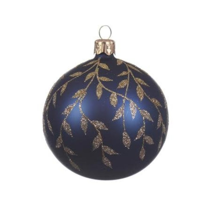 """Night Blue Glass Bauble with Leaves 3"""""""