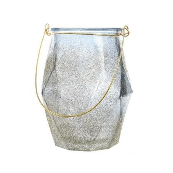 "Blue Glass Tealight Holder with Glitter 3"""