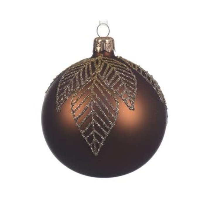 Matte Suede Brown Glass Bauble 3""