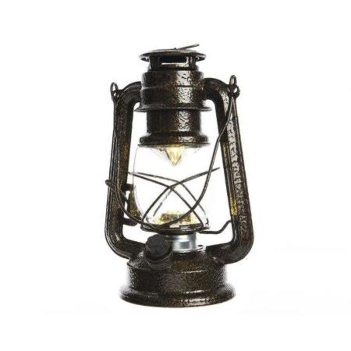 """Antique Brown LED Metal Storm Lantern 10"""""""