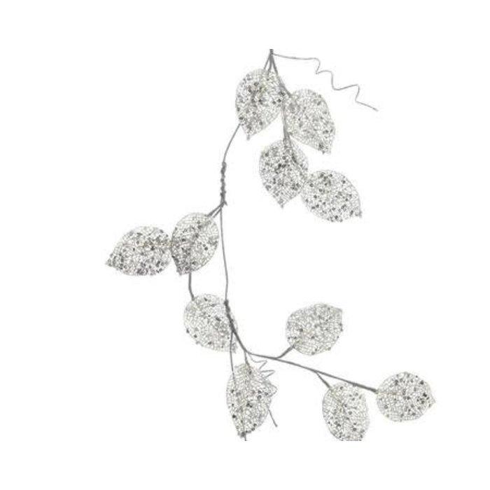 """Glitter Leaf Garland Silver 39.5"""""""