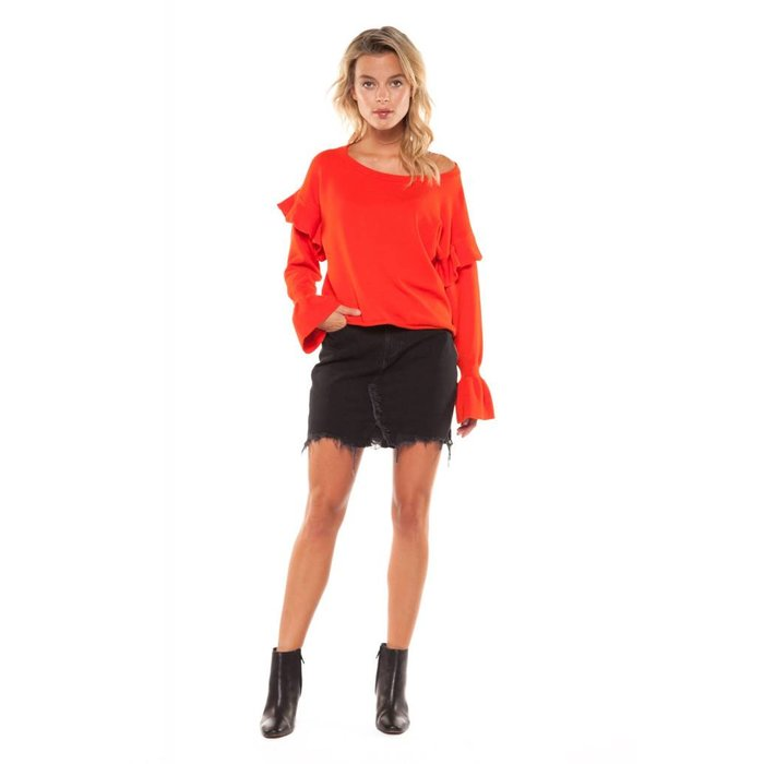 Frilled Cuffs Scoop Neck Sweater