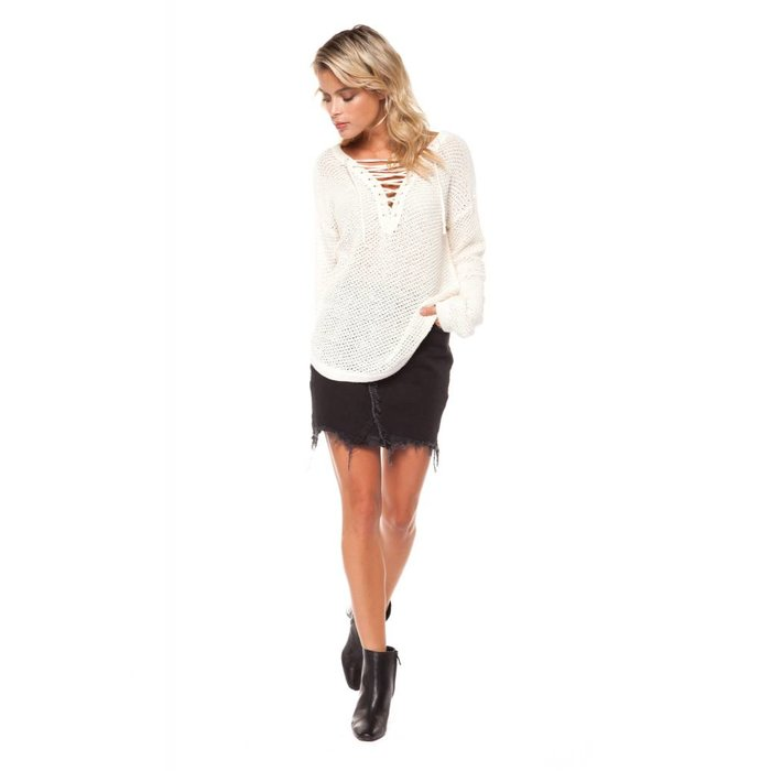 Lace Up V-Neck Sweater